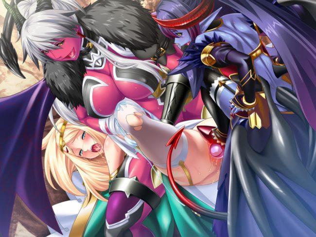 聖騎士 屈強女戦士 聖女エルフ 魔族 連鎖堕ち 調教 魔王娘 ふたなり化 3P